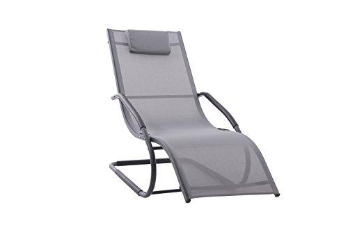 Vivere WAVELNG1-GB Wave Chaise Longue Aluminium Gris 168 x 61 x 91 cm