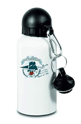 Drucklebnis24 – Botella de agua de Los Piratas Los Valientes – para niños, escuela, deporte, fitness – Botella de agua fina de aluminio