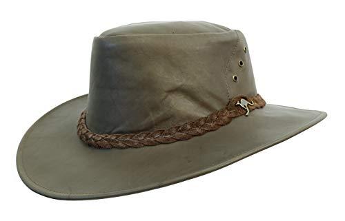 Kakadu Traders Australia Cappello traveller australiano in pelle di canguro | Darwin- da viaggio | 2° scelta marrone XXL