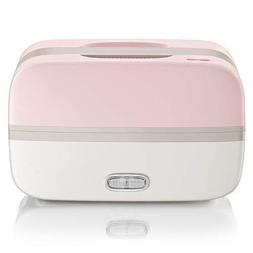YHML Elektrische Lunch-Isolierte Lunchbox beheiztes, gedämpftes Lunchboxen Double 304 Edelstahl-Lunch Vacuum Preservation, Heizungsfrühstück, einfach zu sauber, rosa Weiß