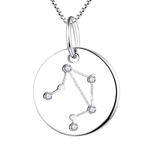 YL Silber Waage Halskette-925 Sterling Silber CZ Horoskop Sternzeichen 12 Konstellation Anhänger Halskette für Frauen und Mädchen
