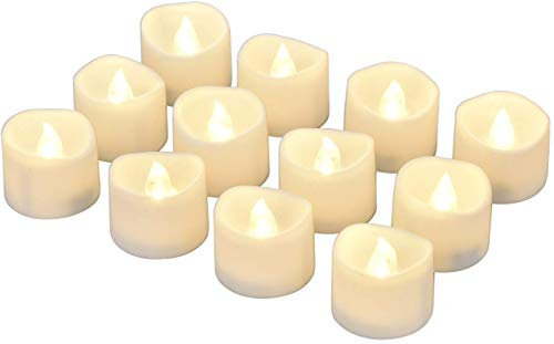 Willingood LED Tea Lights Flameless Candle with Timer, 6 Hours on and 18 Hours Off, 1.4 x 1.3 Inch, Warm White, [12 Pack]