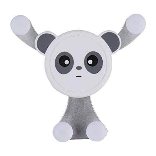 Soporte para teléfono de coche con manos libres, soporte para teléfono móvil, soporte de gravedad con forma de panda, color plateado