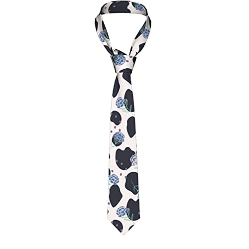 KXT Peonies on Cow print in Vibrant Men's Funny Neckties,Christmas Decorations Fashion Boys Cravats Tie,Classic Necktie for Wedding Party Business