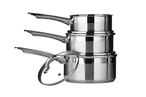 Premier Housewares Ensemble de Casseroles en Acier Inoxydable, Batterie de Cuisine à Induction Deux Tons – Ustensiles de Cuisine 3 Pièces