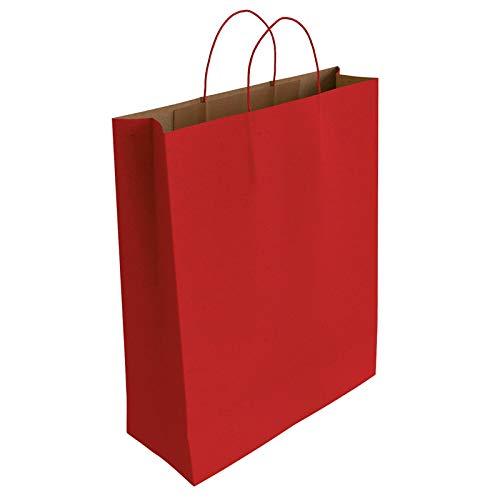 [CA3009] 50 x Bolsa de Papel Kraft Rojo con Asas Rizadas (32 x 24 x 10 cm)