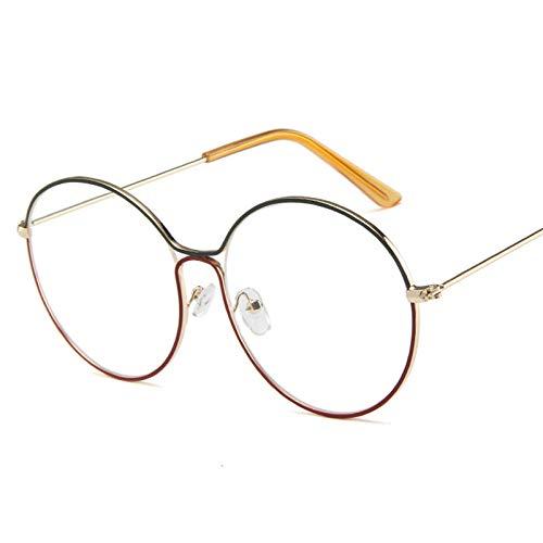 DLSM Gafas de Sol Aleación Redondo Gafas de Sol Mujeres Vintage Degradado Lente Gafas de Sol Hombres Viajes Gafas de Sol Apto para Gafas de Sol de Golf-Blanco Rojo Blanco