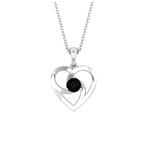 Solitaire 0,34 quilates Red Lab Created Black Diamond Certified SGL Corazón Colgante Vintage Corazón Abierto Amor Colgante para Mujer, 10K Oro blanco Con cadena