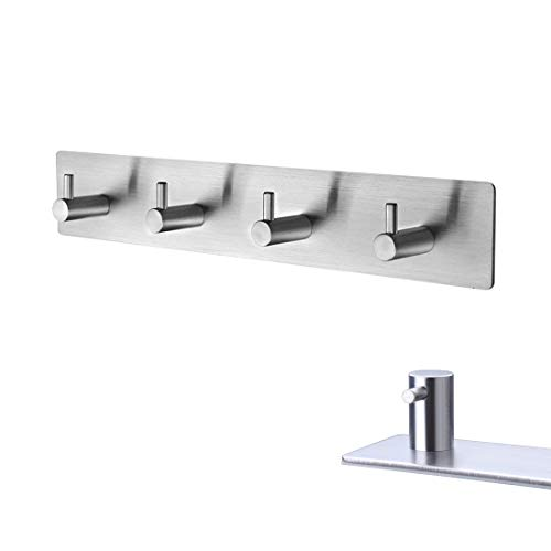 YamaziHD Self Adhesive Stainless Steel Hooks, Wall Mounted Heavy Duty Hanger, Key Rack Towel Hooks for Bathroom, Living Room, Kitchen (4 Hooks)