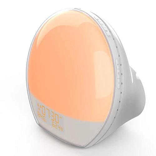 QXYOUNGA LED Sunrise Colorful wekker licht creatief slapen nachtlampje met FM-radio, temperatuur en vochtigheid weergave, klok geschikt voor geschenken