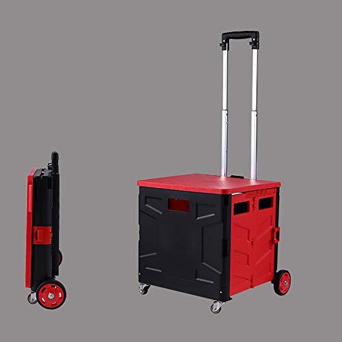 XIAOPENG Carrito Compra Plegable Caja de Plástico Portátil Plegable con Tapa de 4 Ruedas, para Compras, Oficina, Viajes