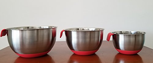 Stainless Steel Mixing Bowls for Kitchen, Cooking and Baking. 1QT, 2.5QT, 4.5QT, Black Handle & Spout, Free Ebook