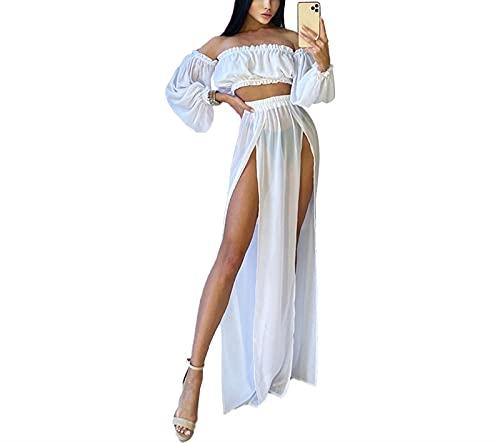 L&ieserram Ensemble Bikini Cover Up Femme Sexy Maillot de Bain de Plage 2 Piece Top Tube Maxi Robe Mousseline de Soie Crop Top Jupe Longue Fendue Ensemble Beachwear Femme (Blanc, Taille Unique)