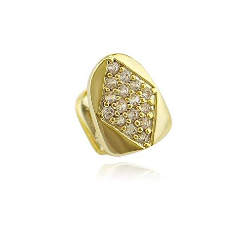 GJF 14 k Gold Silber Voll Pave Voll Strass Rhombus Einzelzähne Grills Zähne Oben (Farbe : Gold)