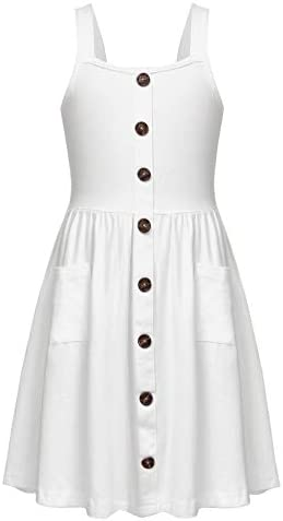 Arshiner Girl s Casual Beach Summer Dresses Solid Cotton Flattering A Line Spaghetti Strap Button product image