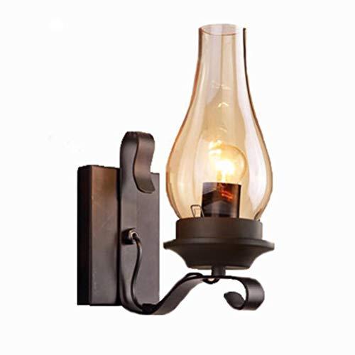 Lámpara de pared de estilo vintage Loft, diseño industrial antiguo, pantalla de cristal LED, lámpara de pared retro, color negro, hierro, bar, comedor, garaje, dormitorio, baño, balcón, , lámpara E27