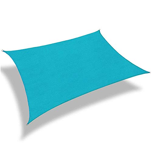 sun shade sail Patio, tela impermeable con bloqueo UV para patio al aire libre, jardín, patio 0X9S4Z (color: azul lago, tamaño: 2 x 5 m)