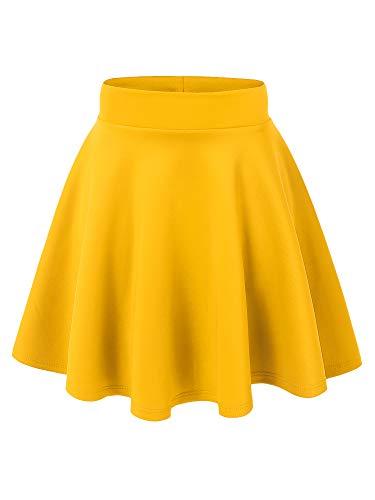 MBJ WB669 Womens Basic Versatile Strechy Flare Skater Skirt XXL Yellow