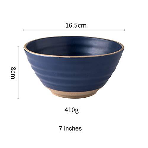 YYF Assiette en céramique bleue pour ménage - assiette/salade/collation/fruit/petit-déjeuner/occidental/assiette creuse 7 pouces (Color : Blue)