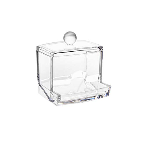 WDOIT bastoncillos Caja Transparente wattepad Cotton Swab dispensador de mondadientes Caja Tooth Pick Holder, 9* 6* 9.5cm