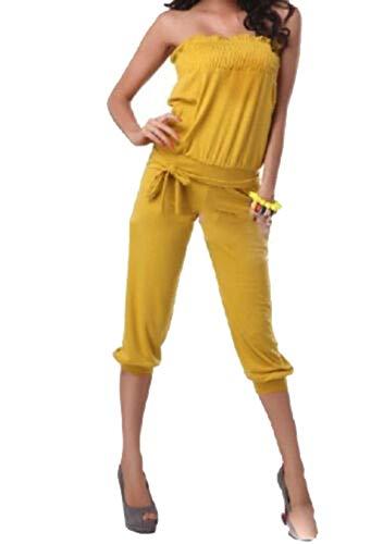 Ovender Tuta Donna Eleganti con Pantaloni Lungo Vestito Jumpsuit Intero Cerimonia Donna Elegante Casual Party (XL, Nero) (Taglia Unica, Giallo)