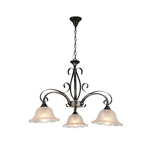 3-Flame-blunted elegante lámpara colgante de metal y pantalla de cristal en la...