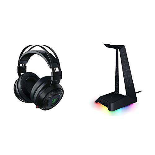 Razer Nari Ultimate – Wireless Gaming Headset (Kabellose HyperSense Kopfhörer für PC, Xbox One, PS4 & Switch) + Base Station Chroma (Headset Ständer)