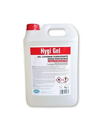 Hygi Gel Dis-infettante per 70% Mani 5L · Soluzione Anti-batterica Senza risciacquo e Asciugatura istantanea · Ideale per l'uso in distributori Automatici · Formato di Risparmio 5L