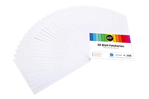 perfect ideaz 50 Blatt weißer DIN-A4 Foto-Karton, Bastel-Papier weiss, Bogen voll durchgefärbt, 300 g/m², Ton-Zeichen-Pappe zum Basteln in white, weißes Blätter-Set, DIY-Bedarf