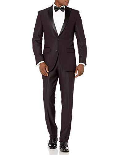 Perry Ellis Men's Slim Fit Stretch Wrinkle-Resistant Tuxedo, Royal Burgundy Dobby, 46 Long