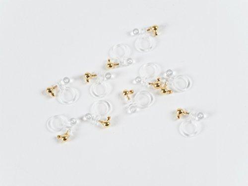 Oorbel onderdelen kunststof nonholding pierce (3 mm bal) 5 paar (10 stuks helder x goud) Met een blik