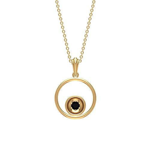 Solitaire - Colgante de ónix negro brillante certificado de 1/8 quilates, oro de 14 quilates, collar de eternidad abierto de doble círculo, colgante de gota de oro de 18 quilates negro