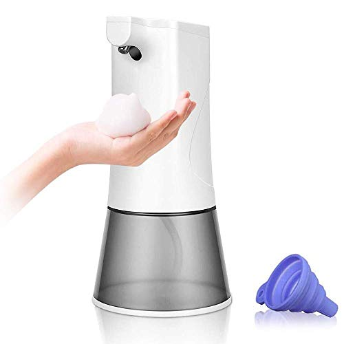 Dispensador de Jabón Recargable por USB, Automático Dispensador de Jabón con Sensor Infrarrojo, Resistente al agua IPX3, 2 Estrechos de Espuma Ajustables para Cuarto de Baño, Cocina, 350 ml