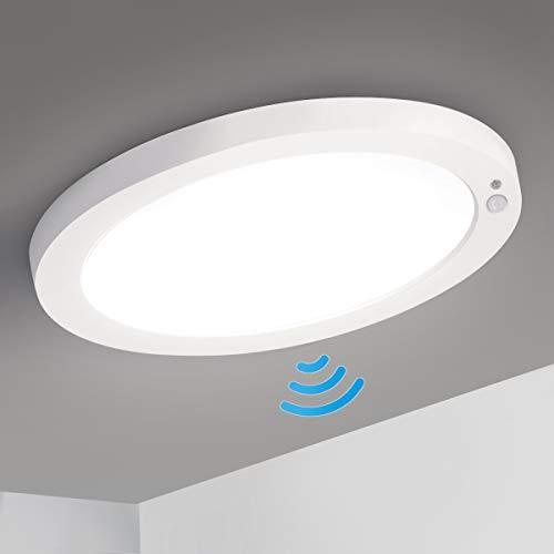LED Deckenleuchte mit Bewegungsmelder, Oeegoo 18W 1550LM LED Deckenlampe Ultraslim 2cm LED Lampe Sensorleuchte für Badzimmer Balkon Küche Keller Flur, Warmweiß 3000K/Neutralweiß 4000K/Kaltweiß 6500K