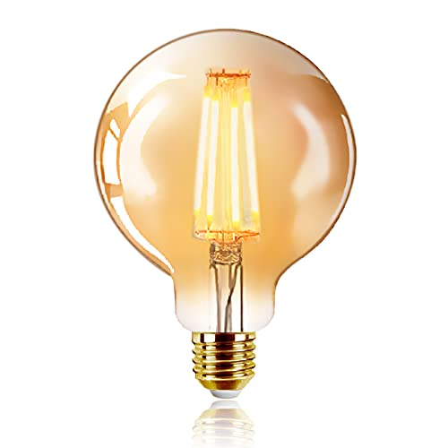 Bombilla Vintage LED E27, 6W Equivalente a 48W, 540LM, Luz Cálida 2200K, Bombilla de Filamento Antiguo, Bombilla de Decorativa, No Regulable, Pack de 1