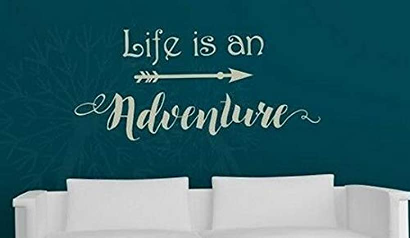 Waldenn Life is an Adventure Wall Decal Sticker Decor Removable Quote Letters Words | Model DCR - 1345