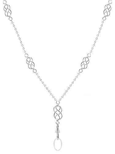 Brenda Elaine Jewelry Silver Plated Women's Fashion Lanyard Necklace ID Badge Holder, 32 Inch Silver Chain with Multiple Silver Celtic Knots & Rear Lobster Clasp