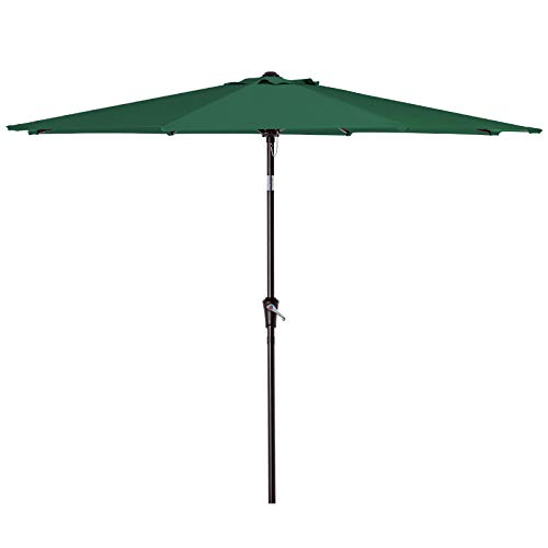 SMLIXE 9ft Patio Garden Table Umbrellas Outdoor Market Sunbrella With Push Button Tilt and Crank Lift System UV Protection Waterproof Sunproof Dark Green