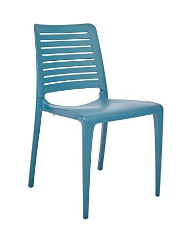 DCB GARDEN Park Chaise de Jardin, Bleu, 56x47x84 cm