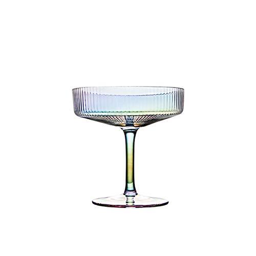 DZHTWSRYGR Vasos de Vidrio Restaurante Rayas Copa de cóctel Plato de Postre Tazón Alto Tazón de Aperitivo Contenedor Transparente
