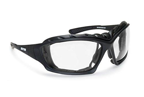 Bertoni Occhiali Fotocromatici Sportivi Antivento Avvolgenti per Moto Sci Skydiving Sport Estremi - Aste ed Elastico intercambiabili - Lenti Antiappannanti F366A