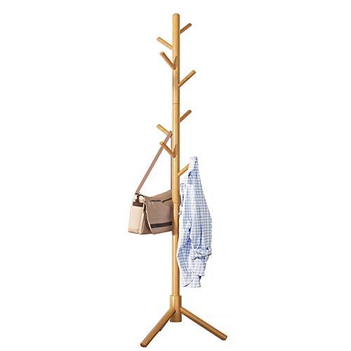 UDEAR Garderobe Massivholzboden Kleiderbügel, Büroeingang, Flur, Schlafzimmer, Aufbewahrungskleidung, Hüte, Taschen, 3-Bein-Basis, 8 Haken,Holzfarbe