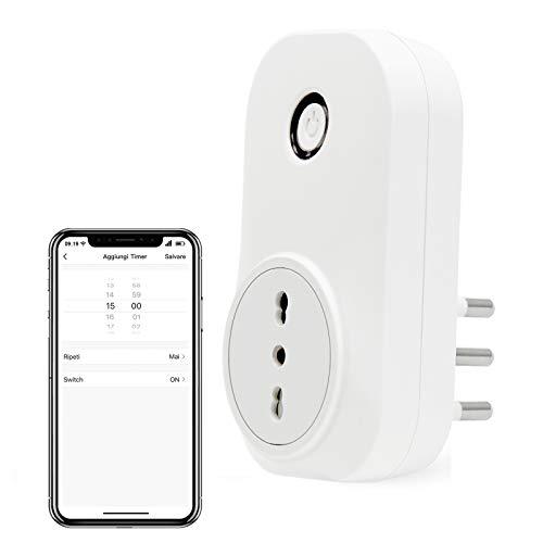 LoraTap Presa Intelligente WiFi Smart Plug Spina Senza Fili Compatibile con Google Home e Amazon Alexa, Controllo Remoto Funzione di Temporizzazione per Elettrodomestici, Presa Italiana 16A 3500W