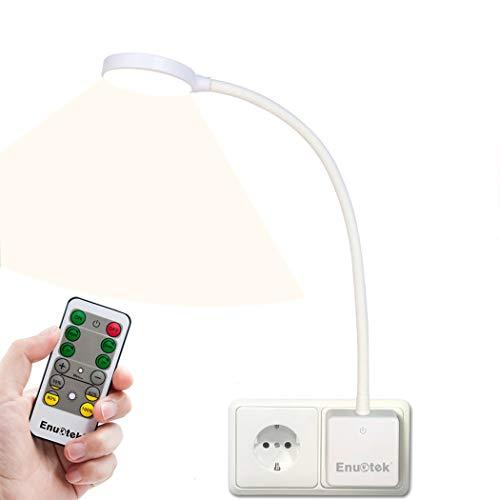 Weiß LED Wandlampe Steckdose Lampe Leselampe Badleuchte Dimmbar mit Netzstecker und Fernbedienung 4W Neutralweiß 4000K 1er Lampe und 1er Fernbedienung von Enuotek