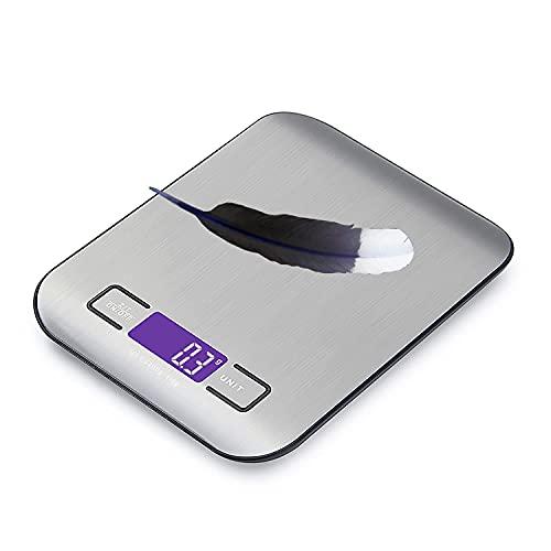 Ulixii Elektronische Küchenwaage Digital, Lebensmittel- / Koch- / Backwaage, LCD-Display, Edelstahl, Hochpräzise, 1g-5kg (Silber).