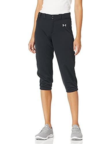 Under Armour Women's Softball Cropped Pants, Black (001)/Baseball Gray, Large