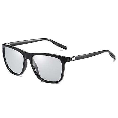 Photochromatisch Polarisierte Sonnenbrille, für Damen & Herren - schützt vor UV-Strahlen und Reflexionen,Eckig Rahmen Flexible Anti Rutsch Bügel Brille mit Stärke (black)
