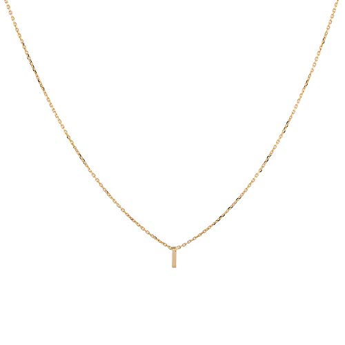 TJC 9ct Yellow Gold Initial I Necklace for Womens Size 15 Inches Solid Plain Jewellery in Glossy Finish