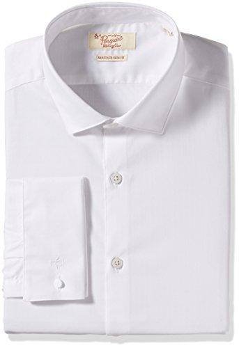 Original Penguin Men's Slim Fit Spread Collar Fashion Dress Shirt, Dark White, 17' Neck 32'-33' Sleeve