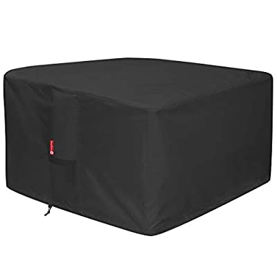"""Gas Fire Pit Cover Square - Premium Patio Outdoor Cover Heavy Duty Fabric with PVC Coating,100% Waterproof,Fits for 33 inch,34 inch,35 inch,36 inch Fire Pit / Table Cover (36""""L x 36""""W x 24"""",Black)"""